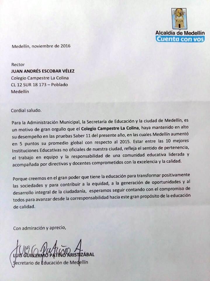 La Colina entre los 10 mejores colegios no oficiales de Medellín